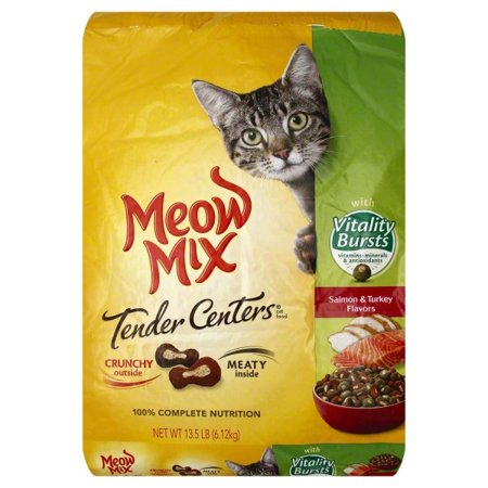 Tender Turkey - Meow Mix Tender Centers Salmon & Turkey Flavors With Vitality Bursts Dry Cat Food, 13.5-Pound