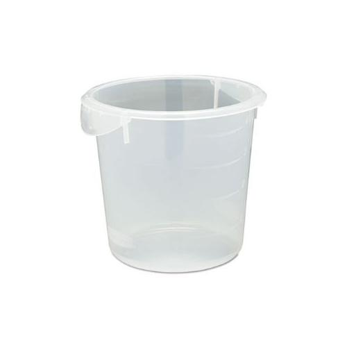 Round Storage Containers, 4qt, 8 1/2 dia x 7 3/4h, Clear