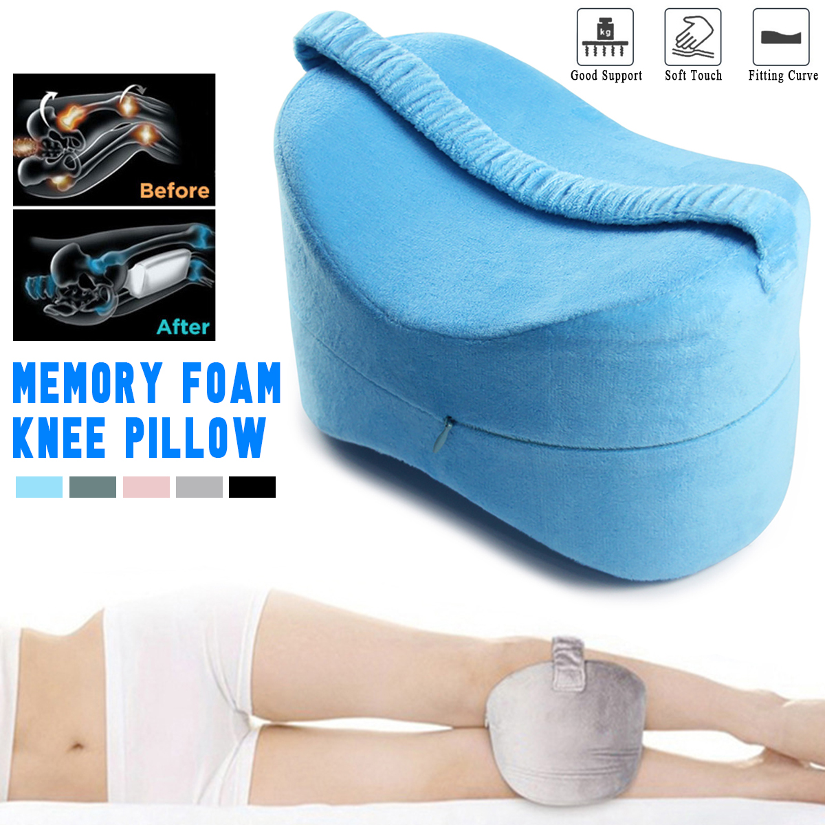 Knee Pillow Leg Pillow Memory Foam for Sleeping Support Cushion Side Sleepers