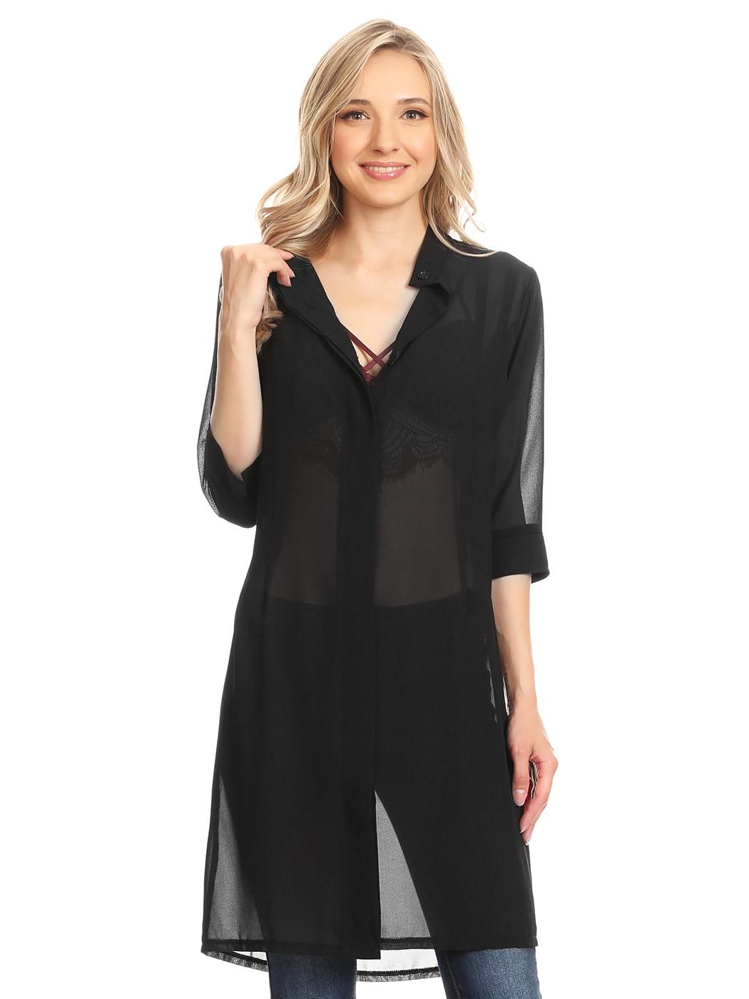 Summer Womens Junior Black Sheer Chiffon Long Tunic Blouse Dress Shirt