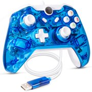 LUXMO Glow Blue USB Wired Controller Gamepad Joystick For Xbox One/ One S/ Win 7 8 10