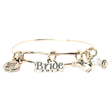 Bride Bangle Bracelet  Fits 7 5  Wrist  Chubby Chico Charms Exclusive