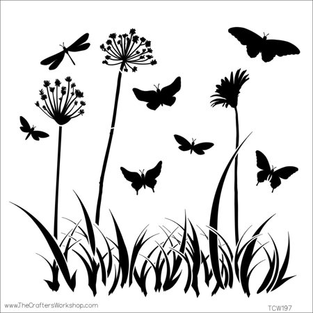 Template, 12 12-Inch, Butterfly Meadow, Perfect for use with chalk markers craft paint and more! Made of easy to wide clean plastic By CRAFTERS WORKSHOP Ship from US