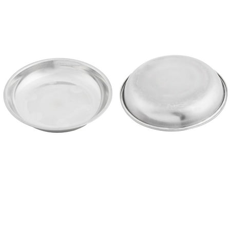 2pcs 12cm Dia Stainless Steel Snacks Container Oil Soy Sauce Dish Silver Plate