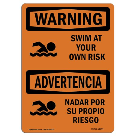 OSHA WARNING Sign - Swim At Your Own Risk    Choose from: Aluminum, Rigid Plastic or Vinyl Label Decal   Protect Your Business, Construction Site, Warehouse & Shop Area   Made in the (Best Rent To Own Sites)