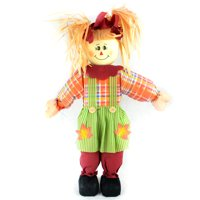 """24"""" Orange Girl Scarecrow with Plaid Dress and Pigtails Halloween Decoration"""