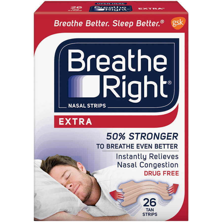 Breathe Right Extra Nasal Strips, Tan Color, Drug Free, 26 Strips