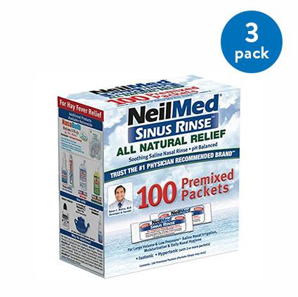 (3 Pack) NeilMed Sinus Rinse Refill Packets, 100 Ct
