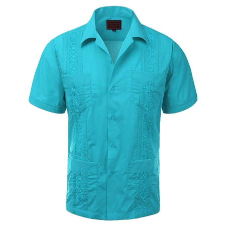 Men's Guayabera Embroidered Cuban Beach Wedding Short Sleeve Button up Casual Dress Shirt Atoll Blue