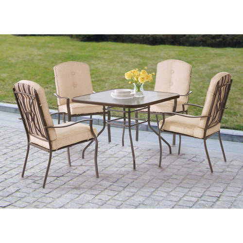 Mainstays Ashwood Heights 5 Piece Outdoor Dining Set, Tan