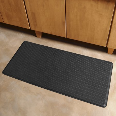 Gelpro Classic Anti Fatigue Kitchen Comfort Chef Floor Mat 20x48 Basketweave Black