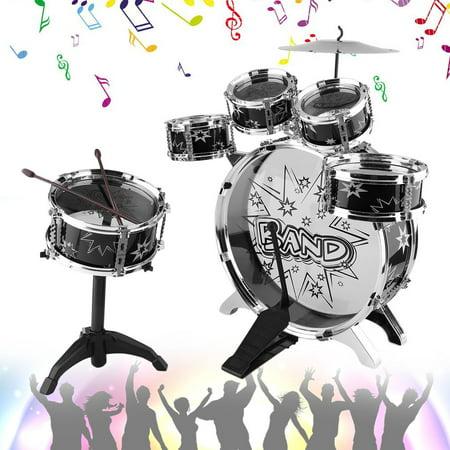 Best Kids Junior Drum Kit Tom Drums Cymbal Stool Drumsticks Set Musical Instrument deal