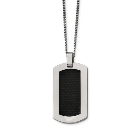 Titanium Polished with Black Carbon Fiber Inlay Necklace 24in - image 3 of 3