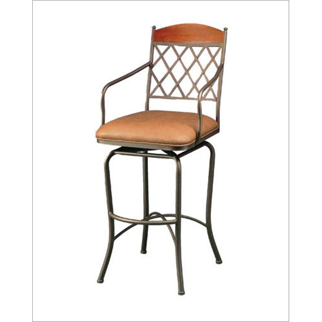 Pastel Furniture NR 219 BF - BK 582 Napa Ridge Bronze 26 Inch Swivel Counter Stool w/ Arms inToast Fabric