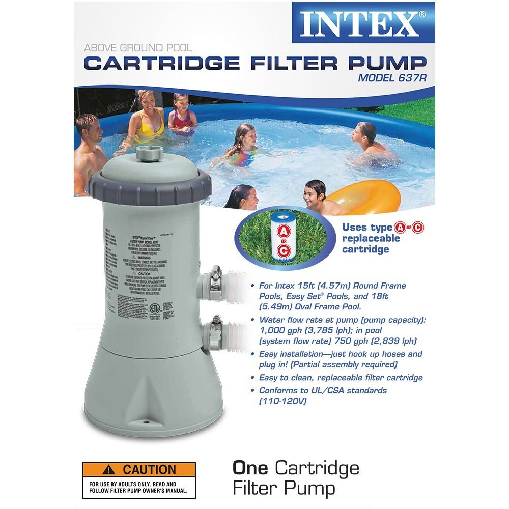 Krystal Clear Cartridge Filter Pump For Above Ground Pools 1000 Gph Flow Rate 110 120v With Gfci By Intex Com