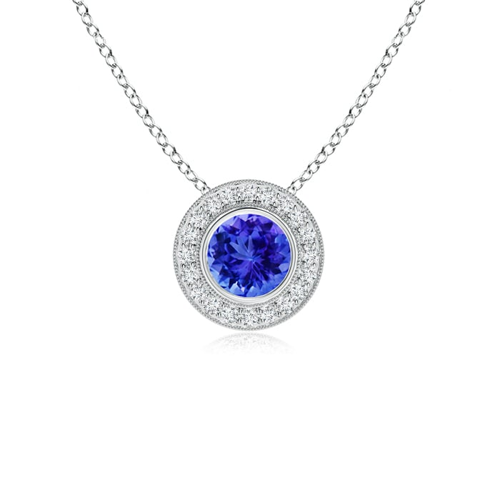 Angara Tanzanite Bezel-Set Necklace in 14k White Gold D1AGrxavY
