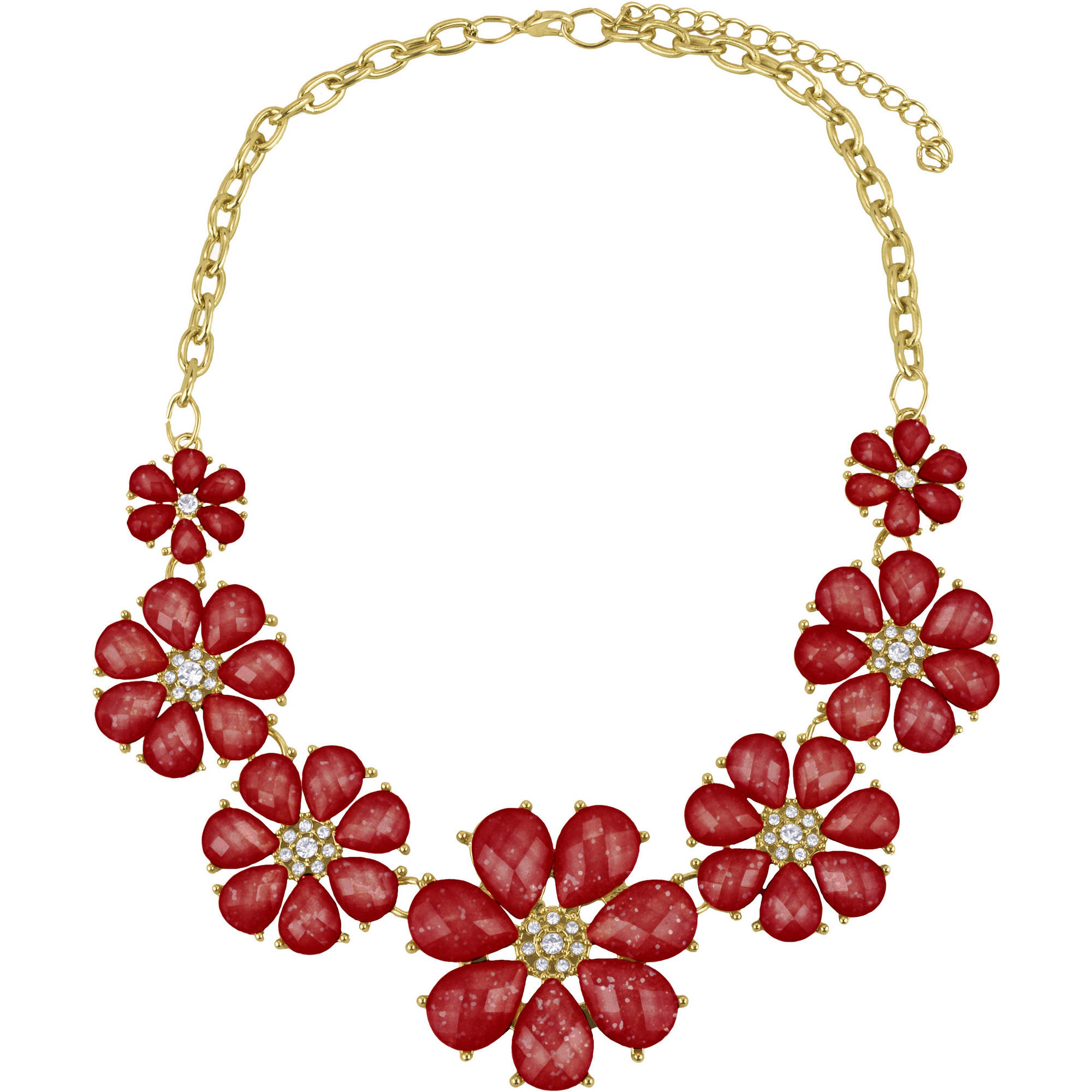 7-Flower Red Faceted Statement Bib Necklace
