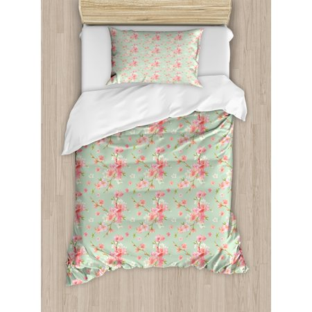 - Shabby Chic Duvet Cover Set, Retro Spring Blossom Flowers with French Garden Florets Garland Artisan Image, Decorative Bedding Set with Pillow Shams, Mint Pink, by Ambesonne