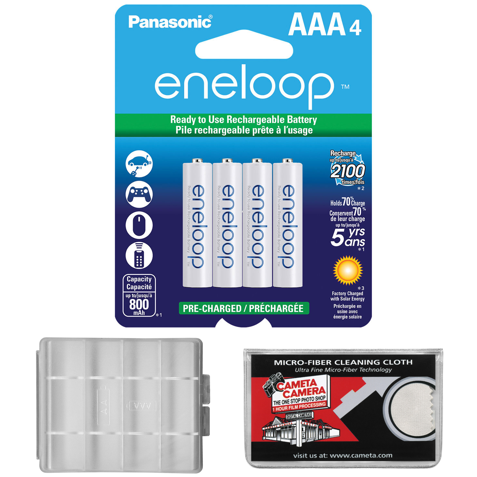Panasonic eneloop (4) AAA 800mAh Pre-Charged NiMH Rechargeable Batteries with AAA Battery Case + Microfiber Cleaning Cloth