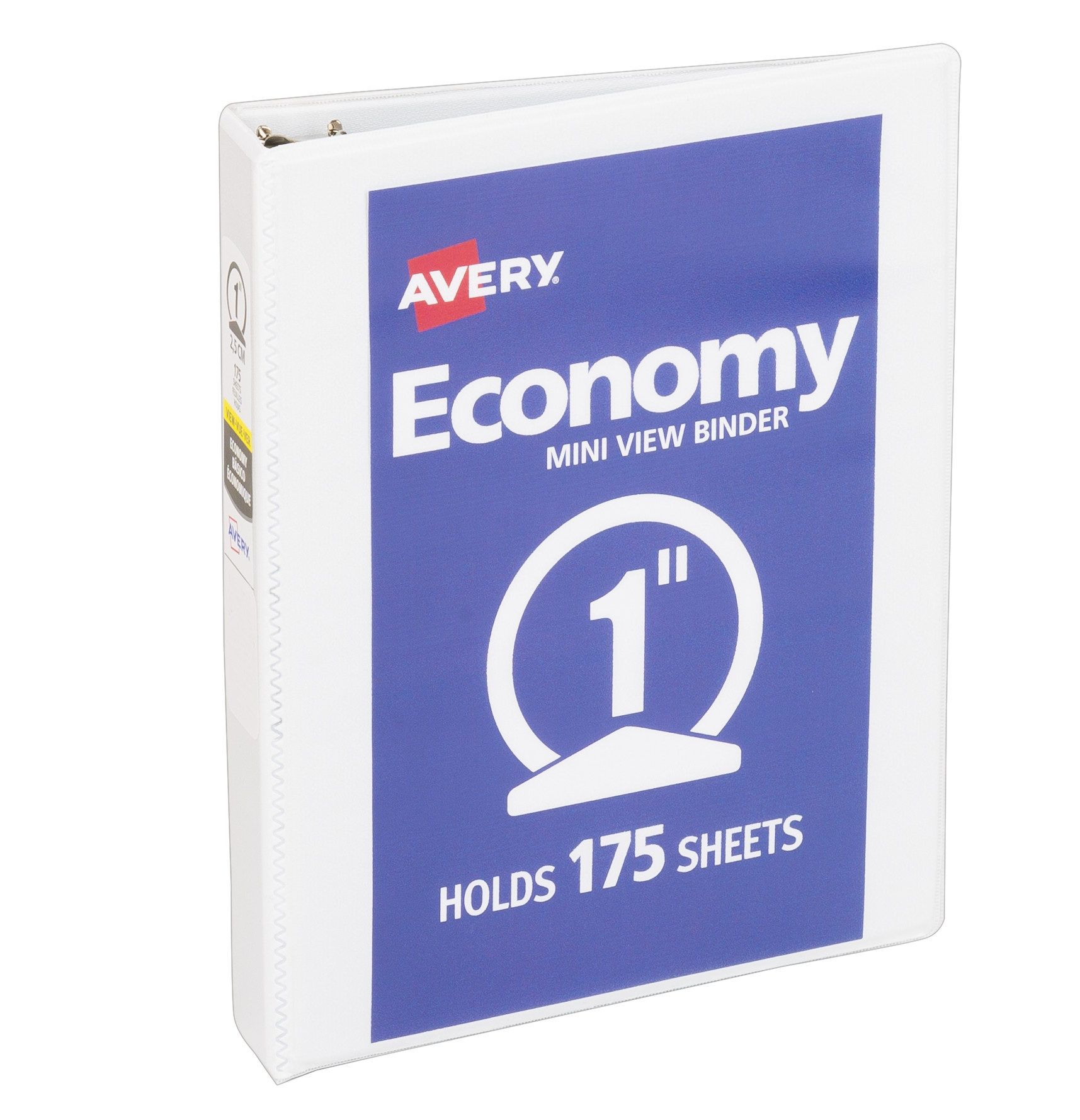 "Avery Mini 5-1/2"" x 8-1/2"" Economy View Binder, 1"" Round Rings, 175-Sheet Capacity, White (05806)"