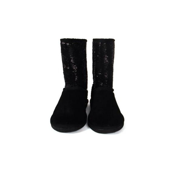 920f24e4ea87 Comfy Feet - Snooki Sheepskin Black Sequin Boots - Walmart.com