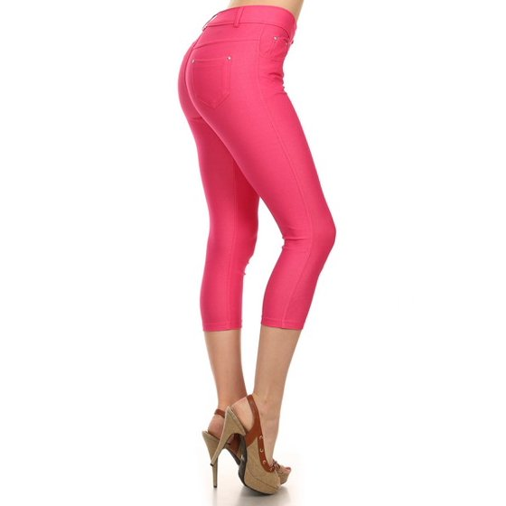 182070cb0dfc4 Yelete - Women's Basic Solid Cotton Blend Capri Jeggings Soft Skinny  Stretch Pants Multi Colors & Sizes - Walmart.com