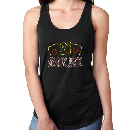 Womens T-Shirt Rhinestone Bling Black Tee Casino Vegas Blackjack 21 Tank Racer Back Large - Womens Rhinestone Halloween Shirts