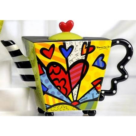 Romero Britto Teapot Square Heart Ceramic Dolomite Tea Pot Infuser Cup Decor New