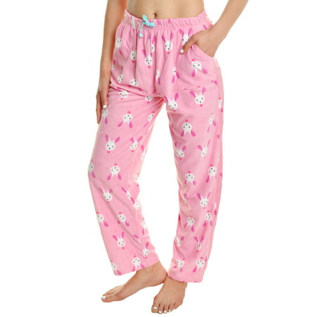 Angelina Women's COZY Fleece Pajama Pants (1-Pack) - Bunny Pajamas For Adults