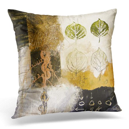 ECCOT Abstract Mixed Media Acrylic Painting with Leaves Collage Pillowcase Pillow Cover Cushion Case 20x20 inch