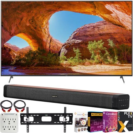 Sony X91J 85 inch HDR 4K UHD Smart LED TV (2021) Bundle with Deco Home 60W 2.0 Channel Soundbar w/subwoofer + Wall Mount Kit + Premiere Movies Streaming 2020 + 6-Outlet Surge Adapter