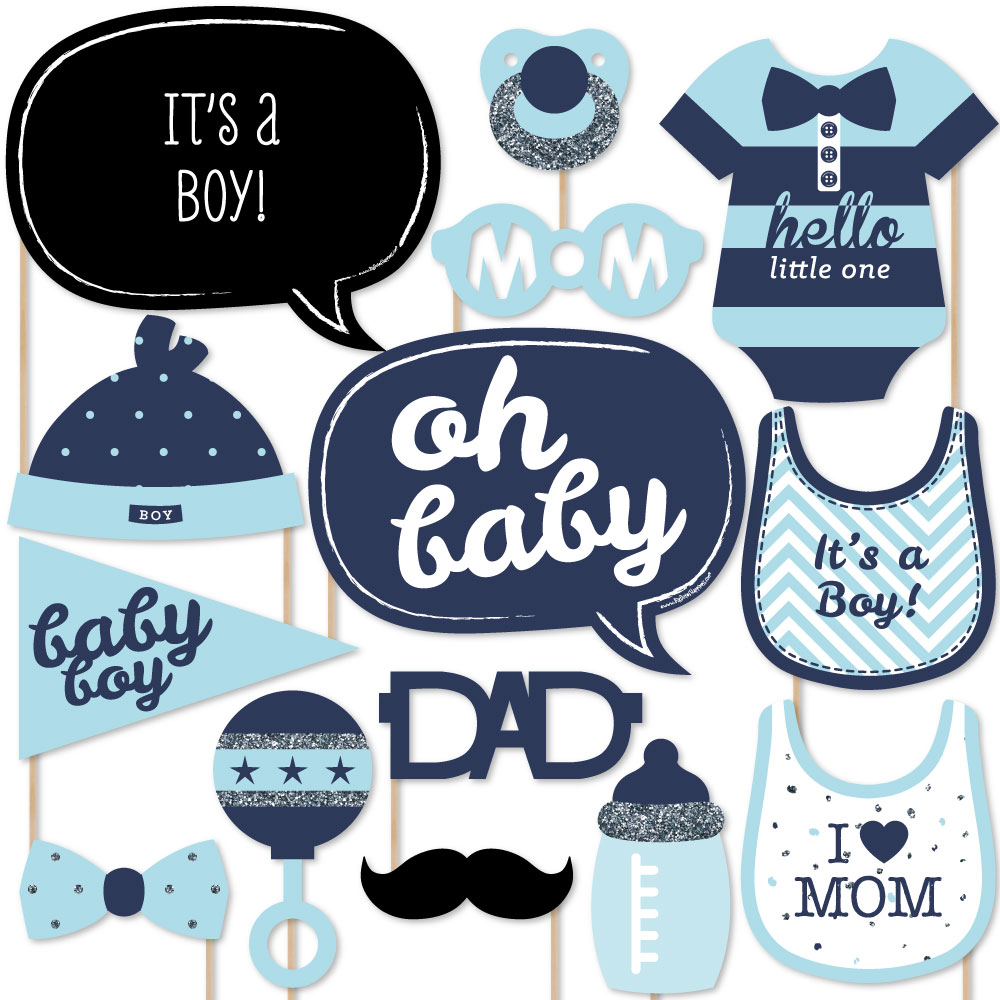Hello Little One Blue And Silver Boy Baby Shower Photo Booth