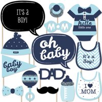 Hello Little One - Blue and Silver - Boy Baby Shower Photo Booth Props Kit - 20 Count
