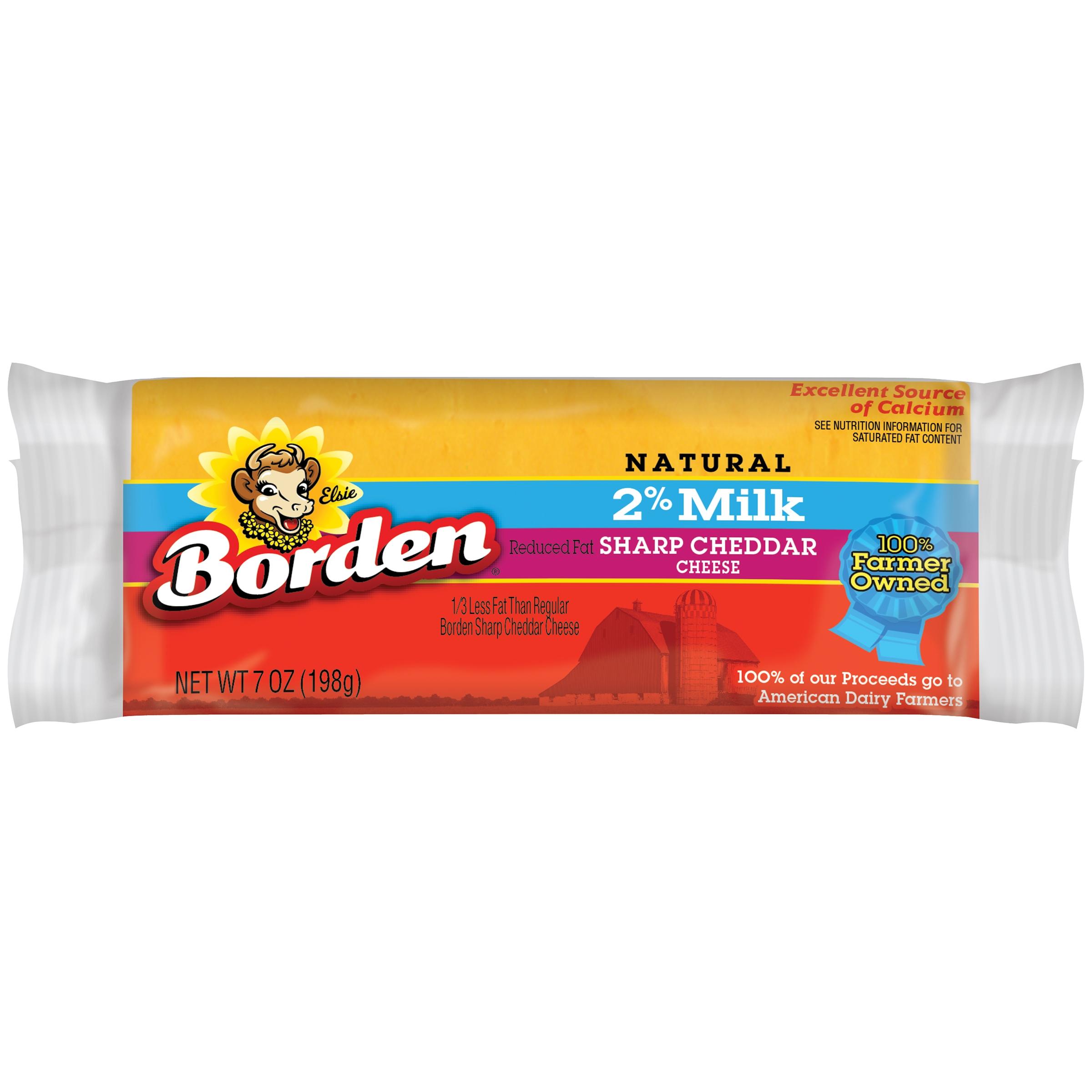 Borden® Natural 2% Milk Sharp Cheddar Cheese 7 oz. Brick