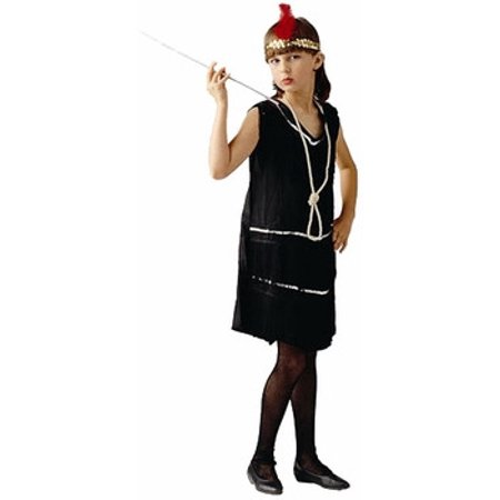 Child DLX Black Flapper Dress Costume~Large 12-14 / - Kids Flapper Dresses