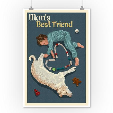 Man's Best Friend - Lantern Press Poster (9x12 Art Print, Wall Decor Travel