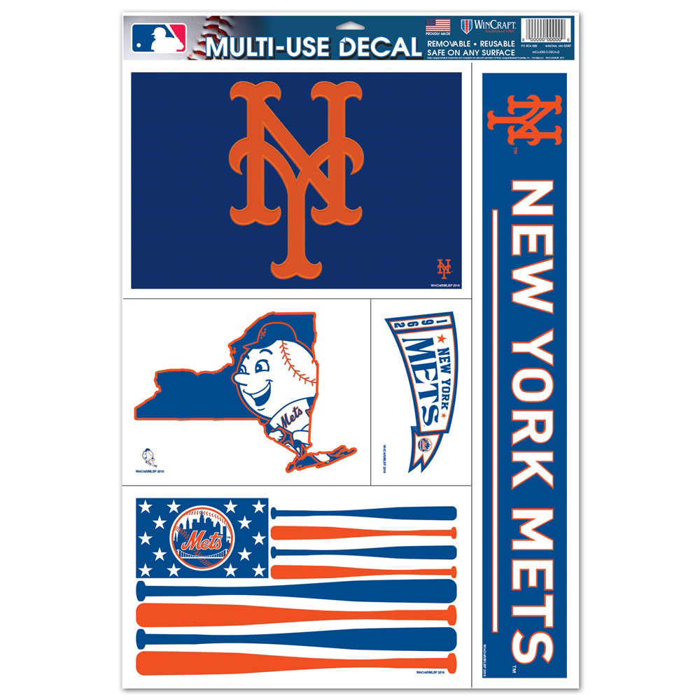 """New York Mets WinCraft 11"""" x 17"""" Stars and Stripes Multi-Use Decal Sheet - No Size"""