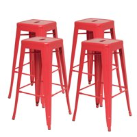 Metropolis Stackable Metal Backless Counter Stool (Set of 4), Multiple Colors
