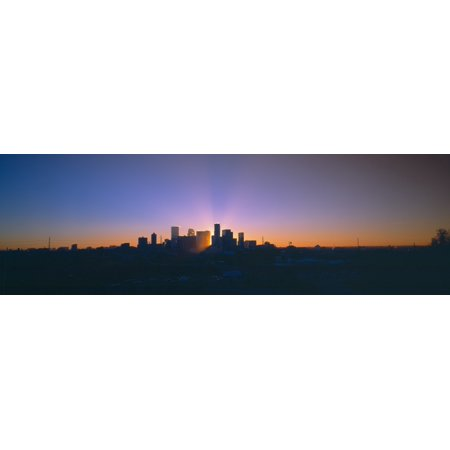 Skyline Sunrise Denver Co Canvas Art   Panoramic Images  27 X 9