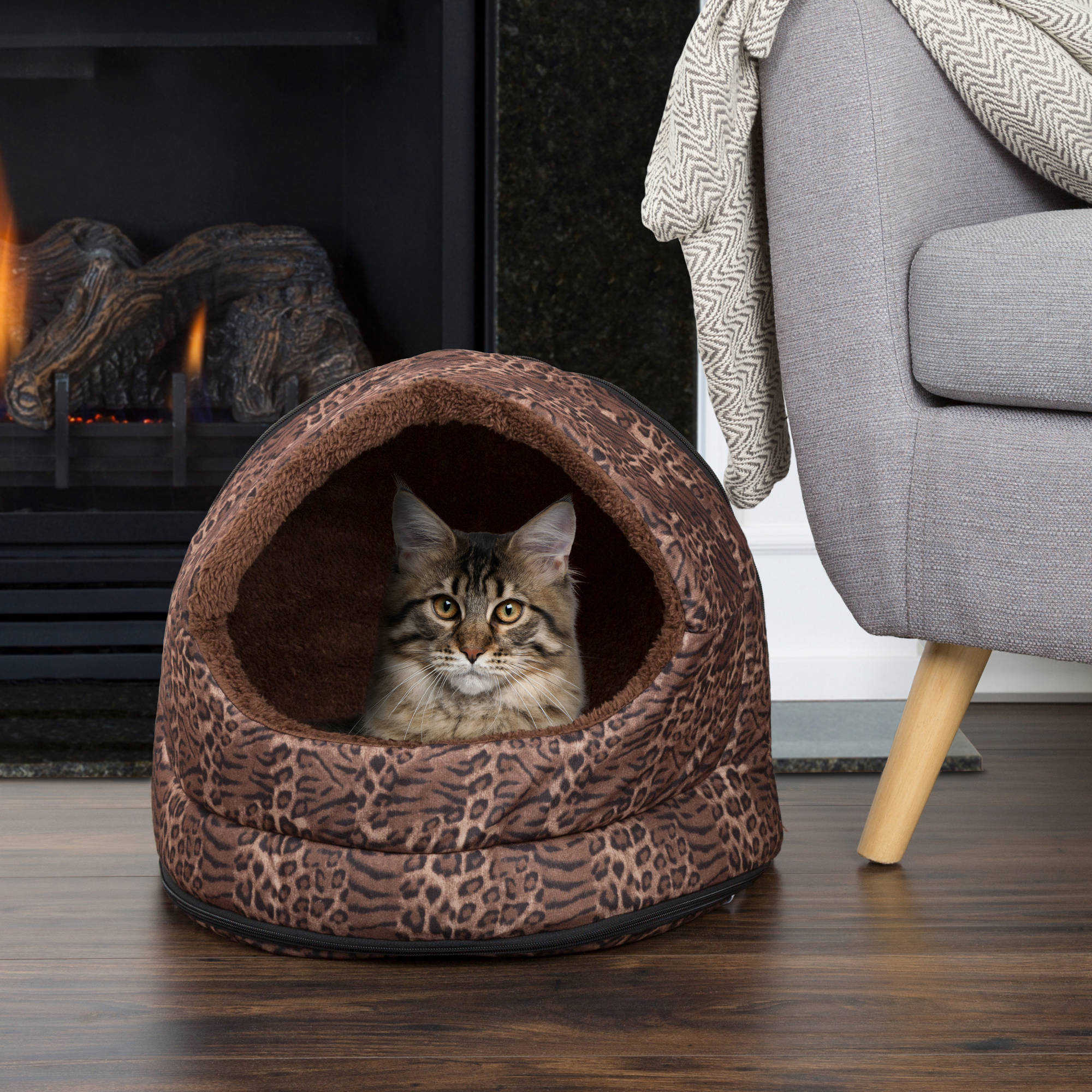 PETMAKER Furry Canopy Cave Pet Bed