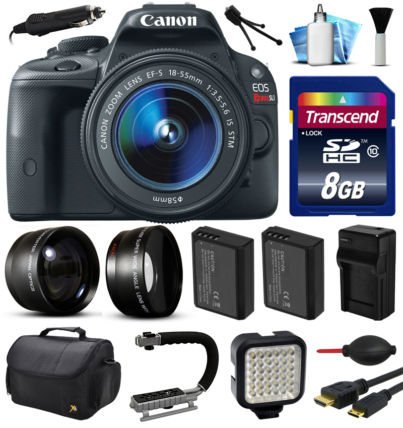 Canon EOS Rebel SL1 100D Digital Camera w/ 18-55mm Lens (8GB Essential Bundle)