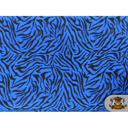 Fleece Printed Fabric Animal Print BLUE ZEBRA / 58