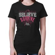 Breast Cancer Awareness Shirt | Believe Survived Pink Ribbon Ladies T-Shirt