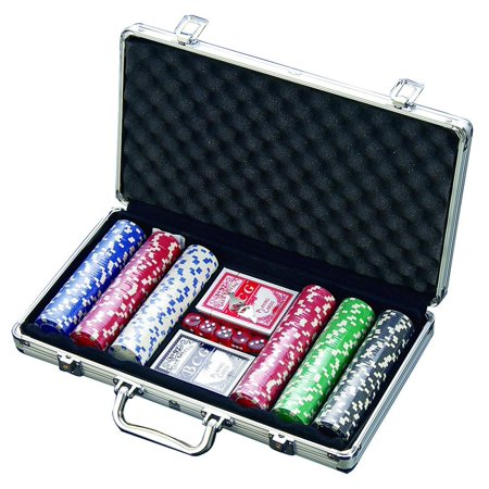 300 Chip Dice Style Poker Set In Aluminum Case (11.5 Gram Chips) , 2 decks of cards, 5 dice - Casino Style