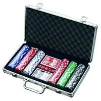 300 Chip Dice Style Poker Set In Aluminum Case (11.5 Gram Chips) , 2 decks of cards, 5 dice