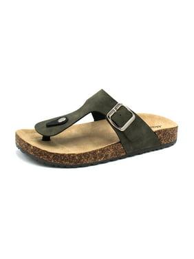 ad7025174 Product Image 1Kylie-15 Women Double Buckle Straps Sandals Flip Flop  Platform Footbed Sandals Olive 6