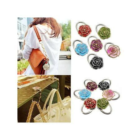 - New Fashion Folding Roses Alloy Bag Purse Handbag Hook Hanger Holder 6 Colors