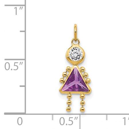 14K Yellow Gold February Girl Birthstone Charm - image 1 of 2