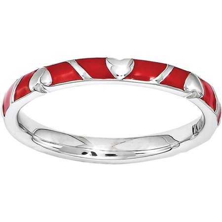 Hearts Stackable (Stackable Expressions Sterling Silver Red Enamel Heart)