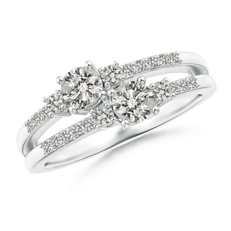Two Stone Diamond Split Shank Ring with Prong Setting in Platinum (Weight: 0.46ctwt) (Platinum 3 Stone Setting)